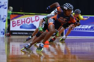 Inline speed skaters racing