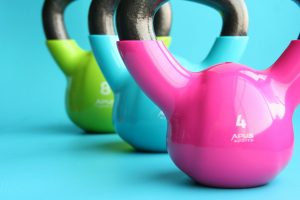 Colorful kettlebells