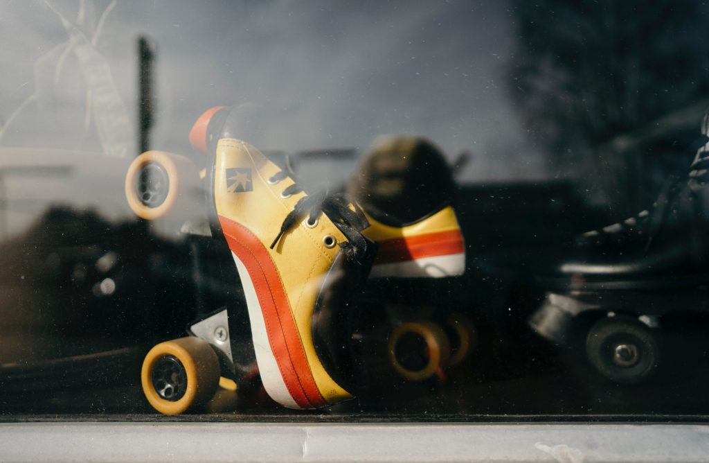 Quad skates in shop window