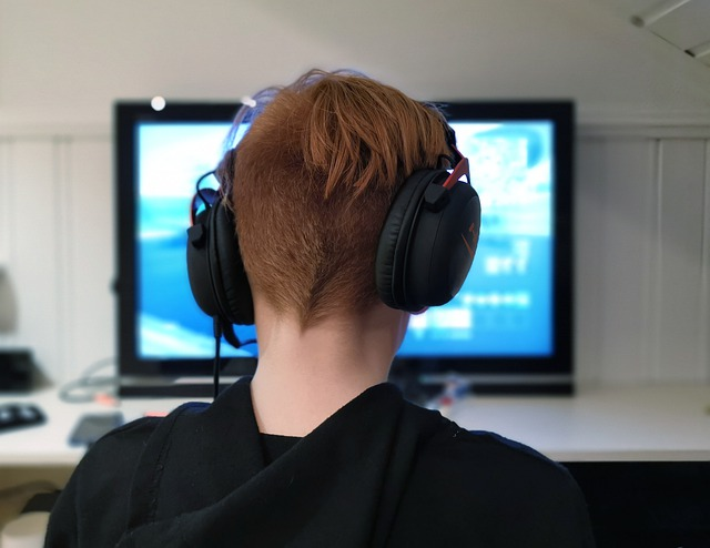 Back of kid's head wearing headphones playing computer game