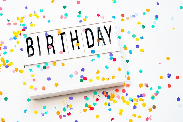 Birthday letterboard sign with colorful confetti on white background